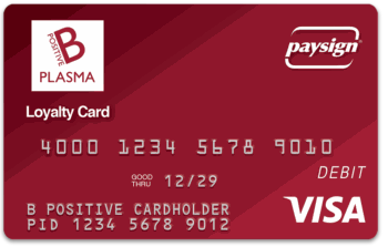 B Positive Plasma Loyalty Card